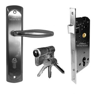 Handle Plate Set UNIKEY UK 1594 SN/CP (Handle Plate+Body+Cylinder)