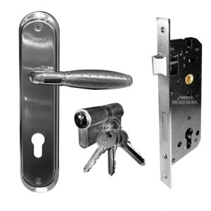 Handle Plate Set UNIKEY UK 1290 SN/CP (Handle Plate+Body+Cylinder)